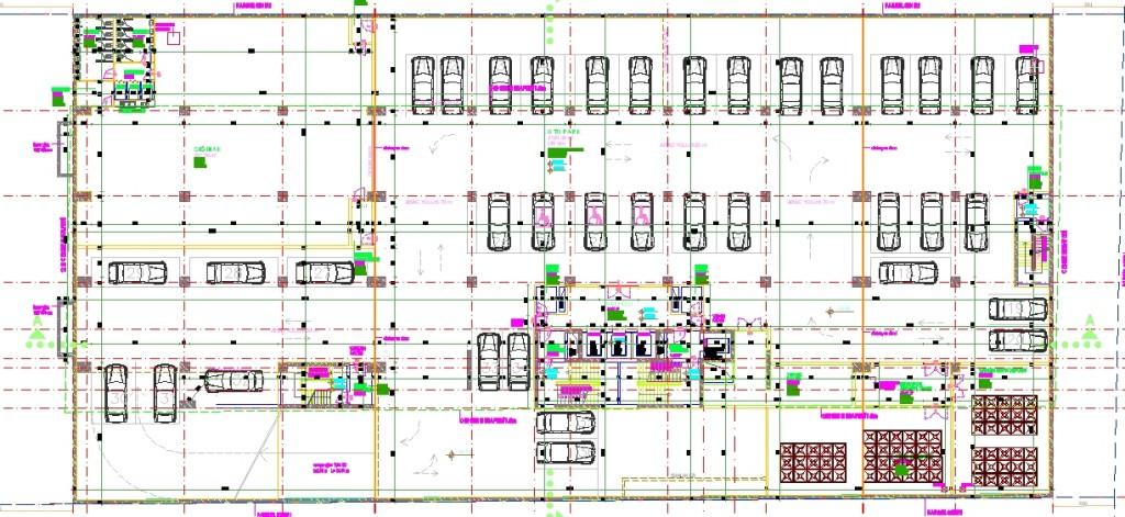 Holding binası bodrum kat planı yakından görünüş