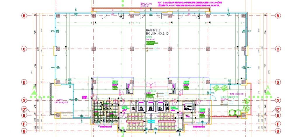Holding binası 4-8. kat planı yakından görünüş