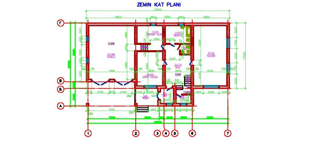 İki katli müstakil konut projesi planı yakından görünüş