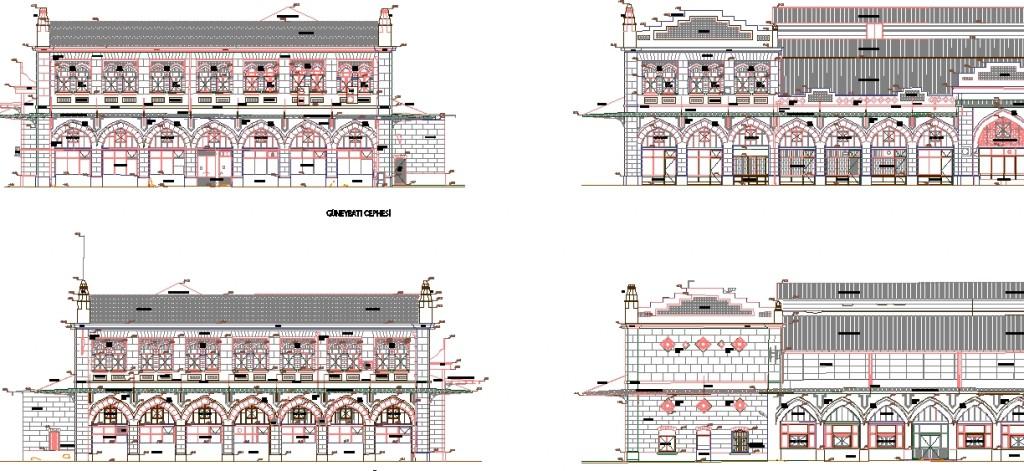 Kadıköy Haldun Taner sahnesi röleve projesi dış cephe çizimleri yakından görünüş