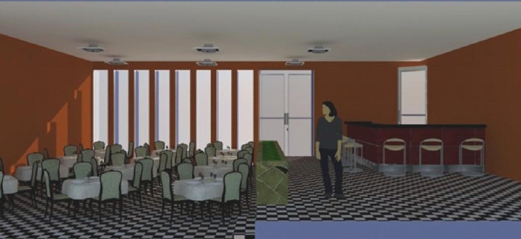 Restaurant bar projesi iç mekan perspektifi