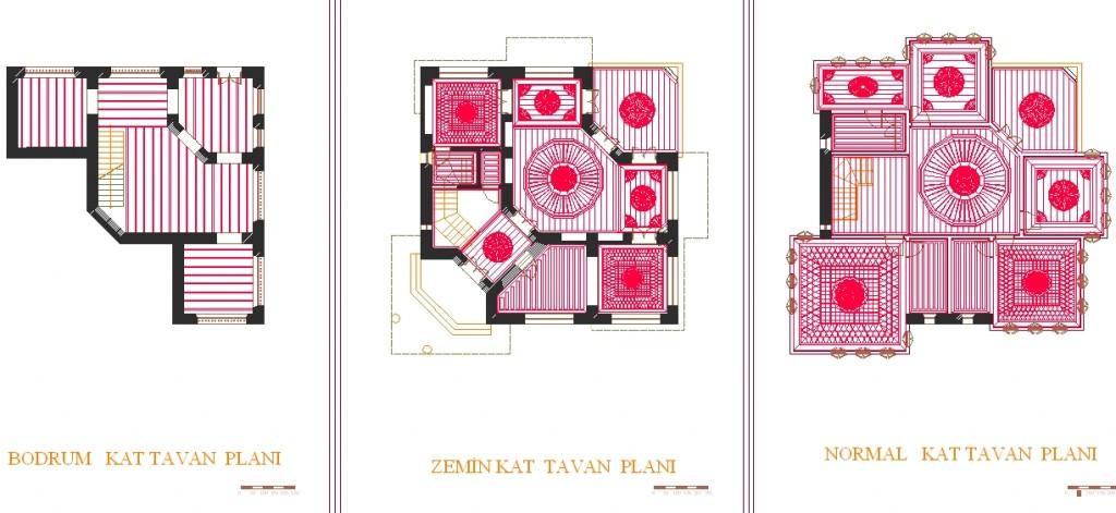 Safranbolu konağı tavan planı yakından görünüş