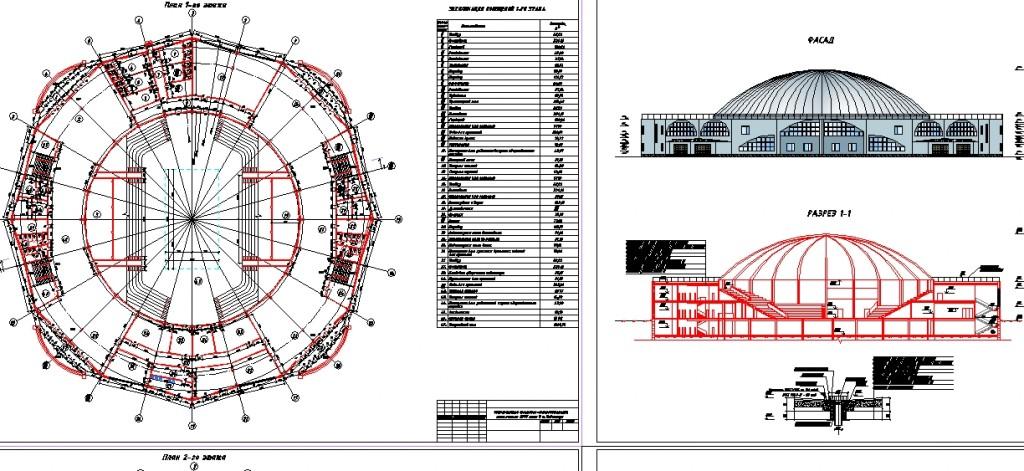 Spor kompleksi projesi plan,kesit ve cephe çizimi yakından görünüş