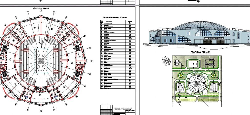 Spor kompleksi projesi plan,perspektif ve vaziyet planı yakından görünüş