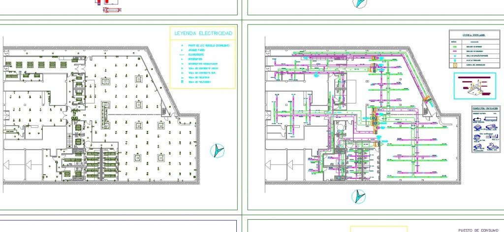 Aydınlatma ve havalandırma tavan planları yakından görünüş