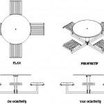 Zemin sabitlemeli yuvarlak masalar ve arkalıksız sandalyeler