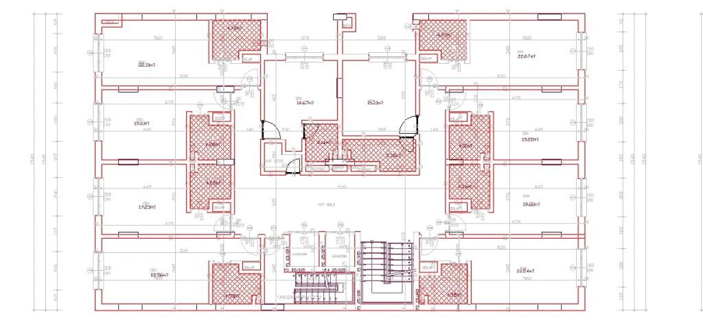 4 yıldızlı otel projesi tefrişsiz mimari plan yakından görünüş