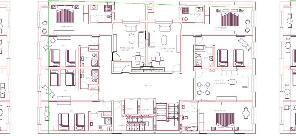 4 yıldızlı otel projesi tefrişli mimari plan yakından görünüş