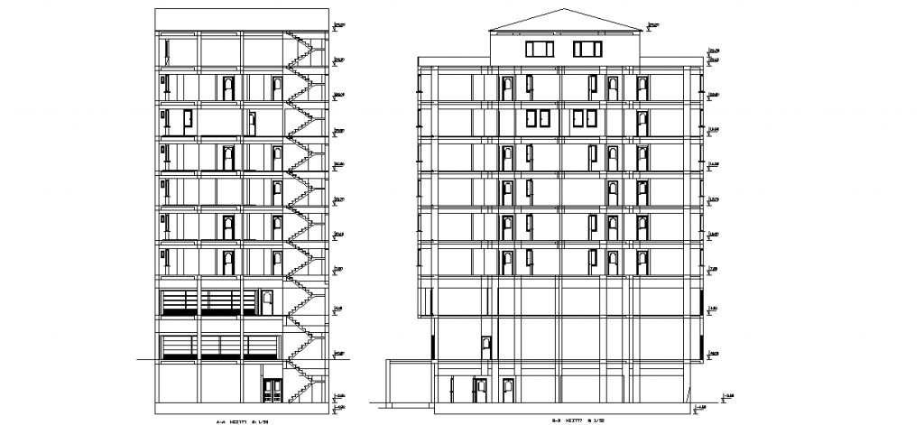 4 yıldızlı otel projesi kesitleri yakından görünüş