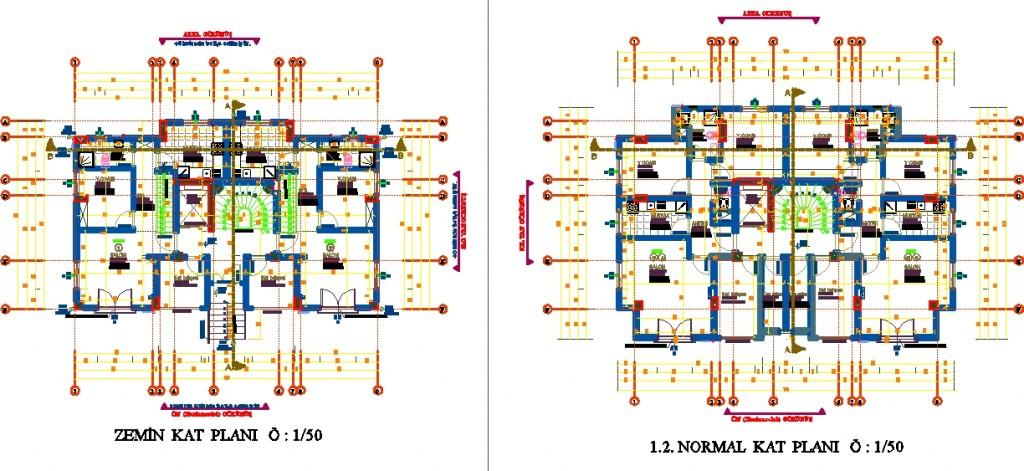 5 katlı konut projesi kat planları yakından görünüş