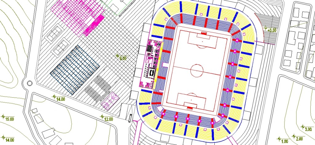 Futbol sahası planı yakından görünüş