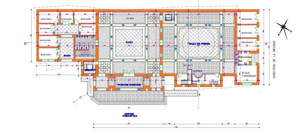 Küçük cami projesi planı yakından görünüş