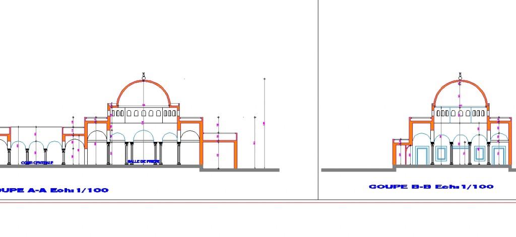 Küçük cami projesi kesitleri yakından görünüş