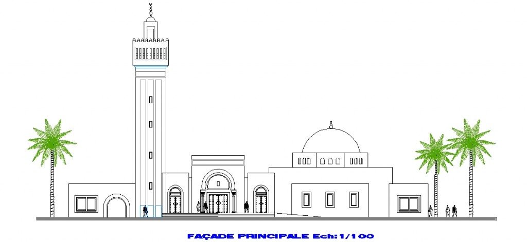 Küçük cami projesi cephe çizimi yakından görünüş