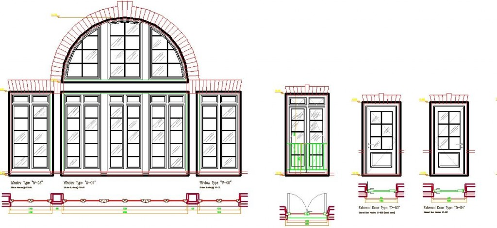 Bahçe ve balkon kapısı çizimleri yakından görünüş