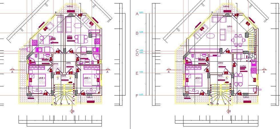 İş yeri üstü ev projesi kat planı çizimleri yakından görünüş