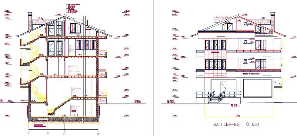 İş yeri üstü ev projesi kesit ve cephe çizimleri yakından görünüş