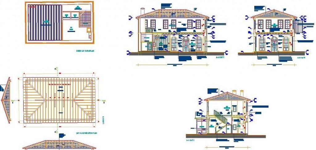 Kagir yapı çatı planı bina kesit ve görünüş çizimleri yakından görünüş