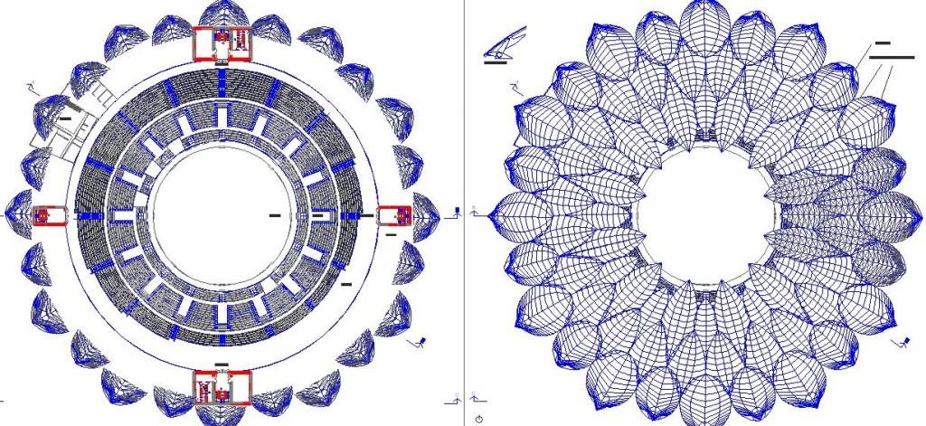 Kolezyum projesi plan ve çatı planı yakından görünüş