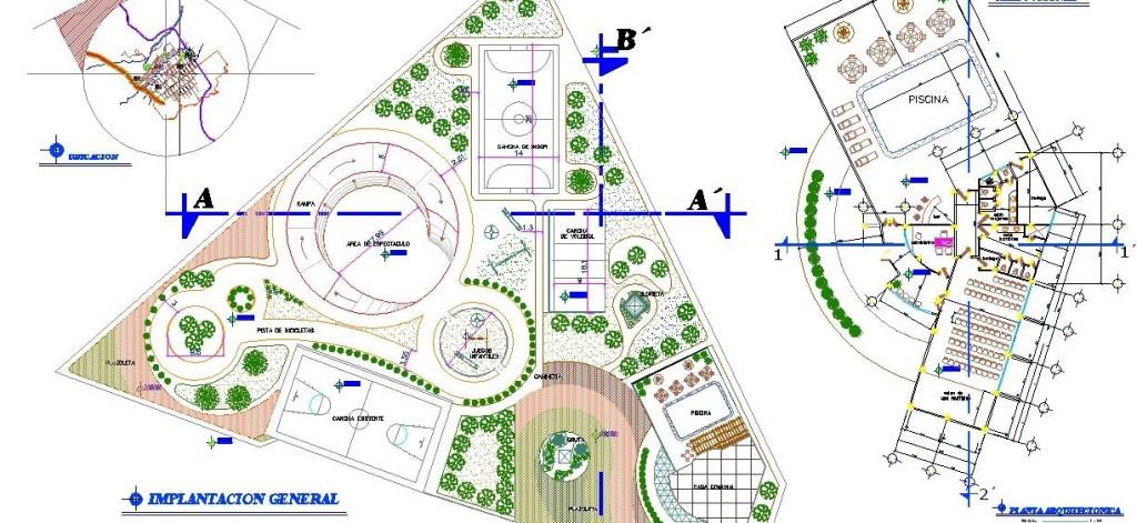 Park projesi planı ve sosyal tesis planı yakından görünüş