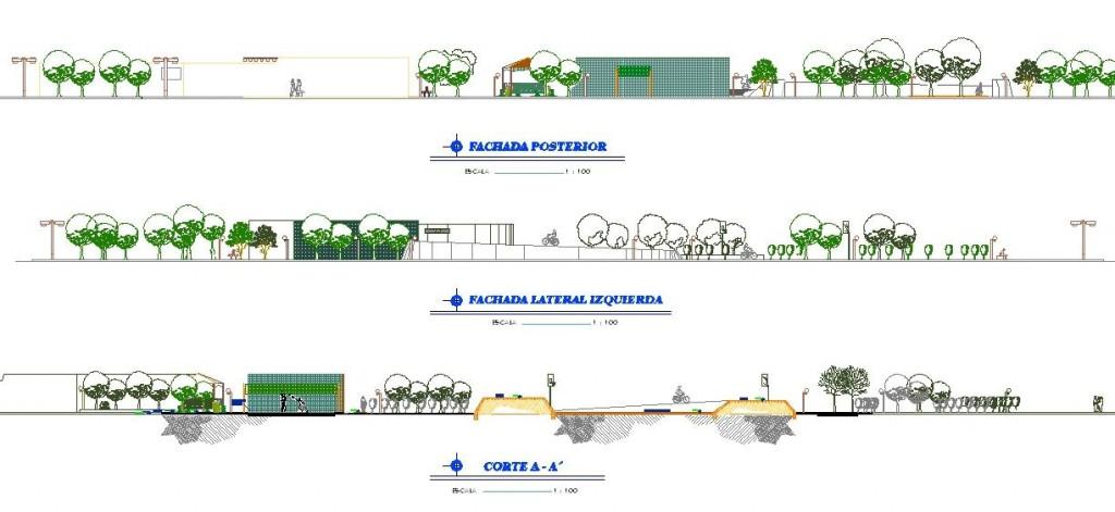 Park projesi görünüş ve kesit çizimleri yakından görünüş