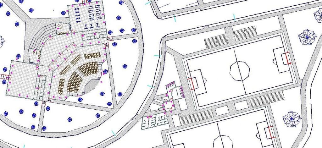 Spor center plan çizimi yakından görünüş
