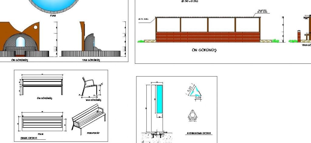 Park projesi detay çizimleri yakından görünüş
