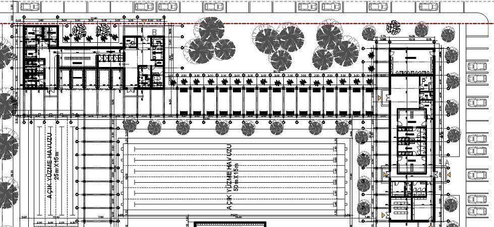 Açık yüzme havuzu tesisi projesi planı yakından görünüş 1