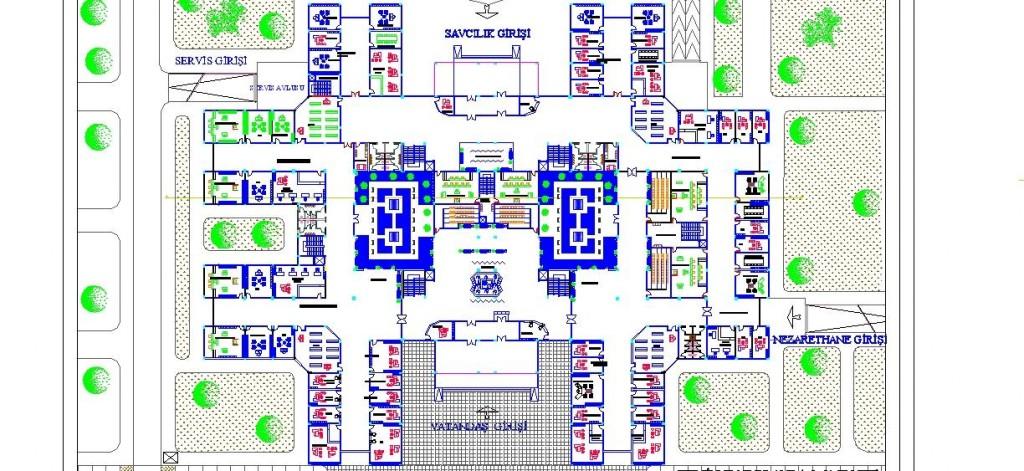 Adliye sarayı planı yakından görünüş