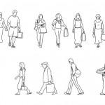 Alışveriş yapan insan figürleri