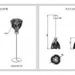 Çiçek lamba takımı çizimleri