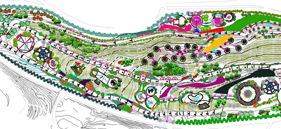 Demokrasi parkı peyzaj projesi yakından görünüş