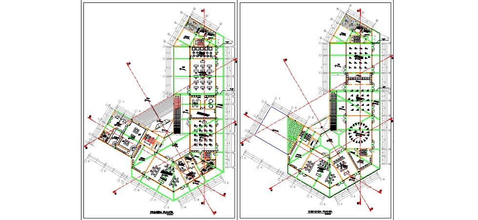 Kültür merkezi projesi plan çizimi yakından görünüş