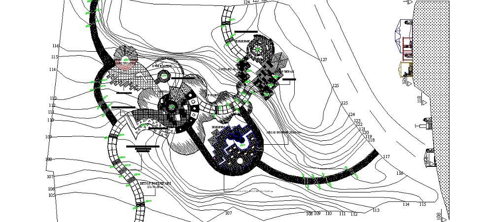 Sosyal park peyzaj projesi vaziyet planı yakından görünüş