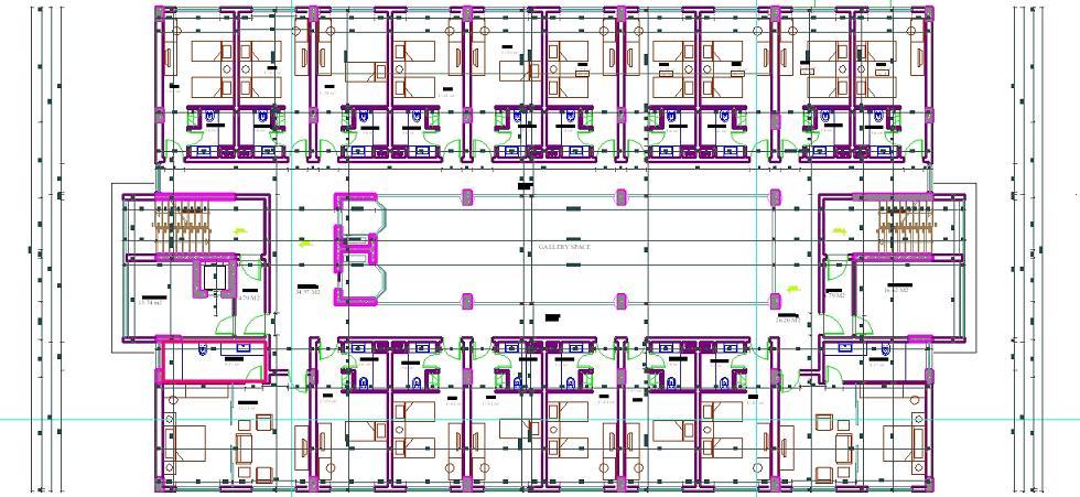 Otel projesi kat planı çizimi yakından görünüş