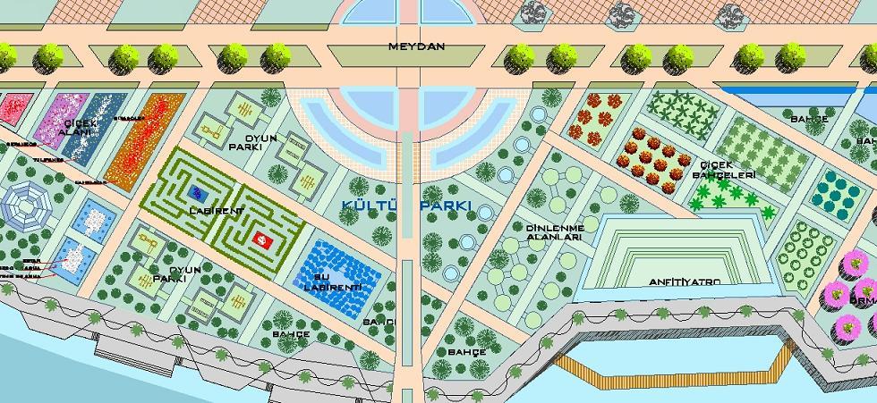 Kültür parkı plan çizimi yakından görünüş