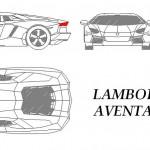 Lamborghini Aventador autocad çizimi