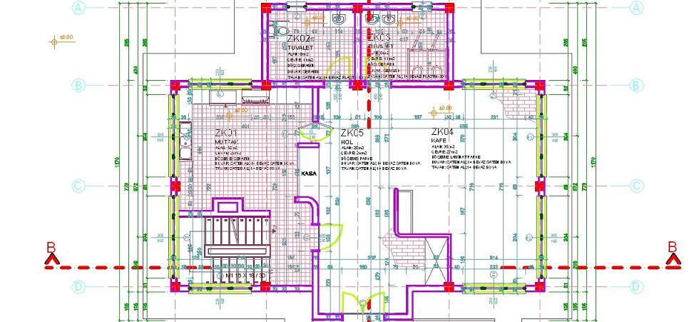 Entegrasyon projesi kat plan çizimi yakından görünüş