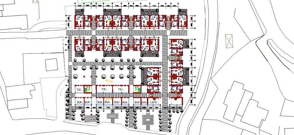 Toplu konut projesi zemin kat planı yakından görünüş