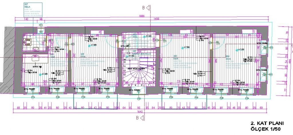 Restitüsyon projesi kat planı yakından görünüş
