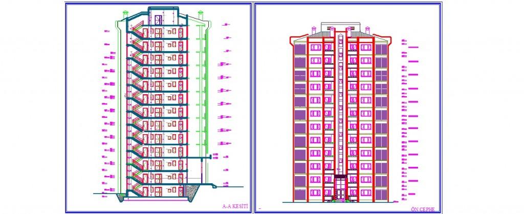 2+1 daireli apartman projesi kesit ve cephe çizimi yakından görünüş