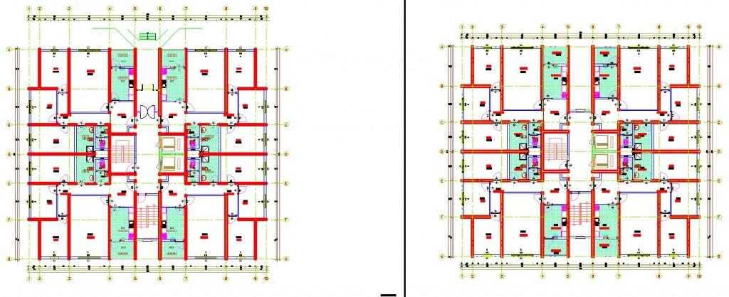 3+1 daireli apartman projesi plan çizimleri yakından görünüş