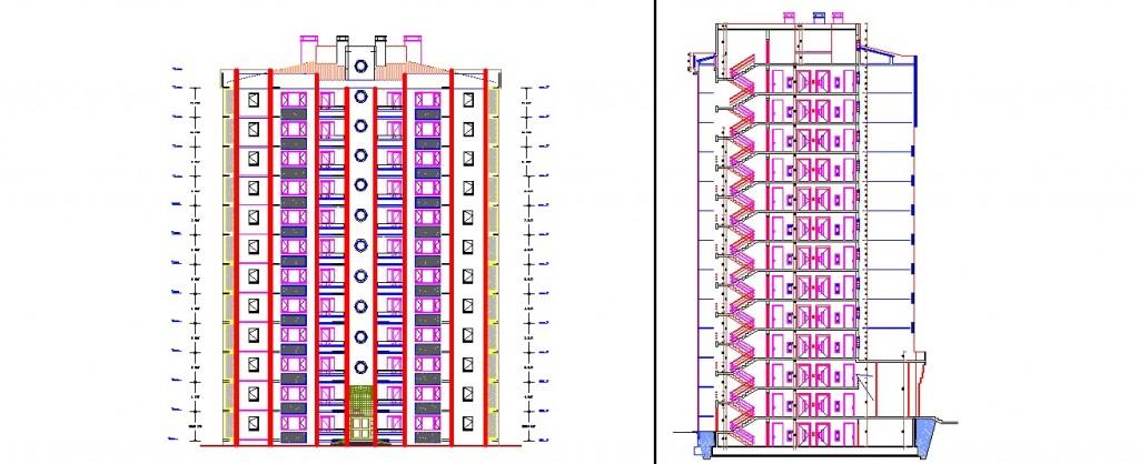 3+1 daireli apartman projesi kesit ve cephe çizimi yakından görünüş