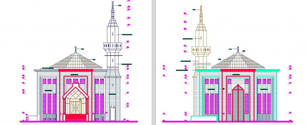 Cami dış cephe çizimleri yakından görünüş