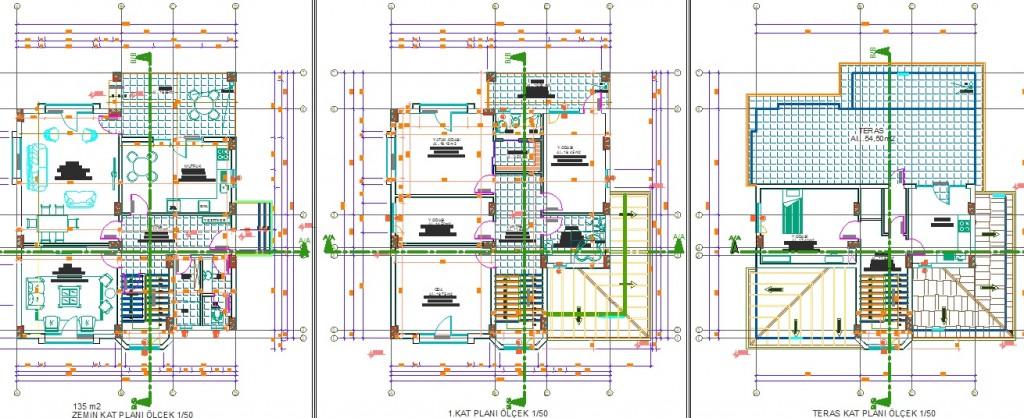 Triplex villa projesi kat planı çizimleri yakından görünüş