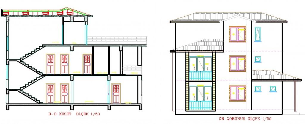 Triplex villa projesi kesit ve cephe çizimi yakından görünüş