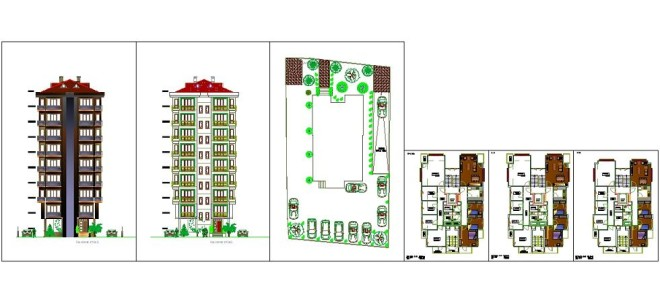 9 katli apartman projesi www.dwgindir.com
