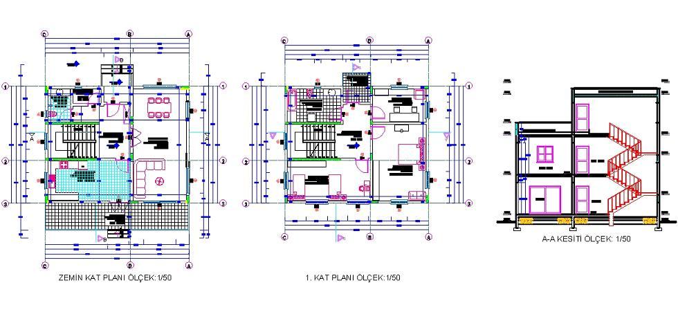 Dubleks villa projesi 3 1 dubleks villa projesi for Villa plan dwg