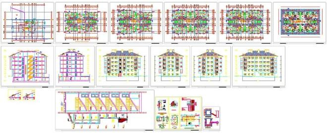 Her katta 4 daireli mimari proje www.dwgindir.com 1