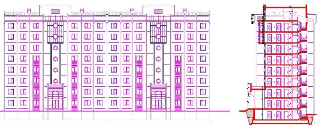 İkiz bloklu toplu konut projesi kesit ve cephe çizimi yakından görünüş
